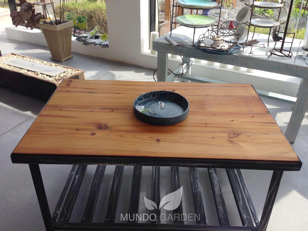 Mundo garden mesa ratona madera y hierro for Mesas de hierro forjado y madera