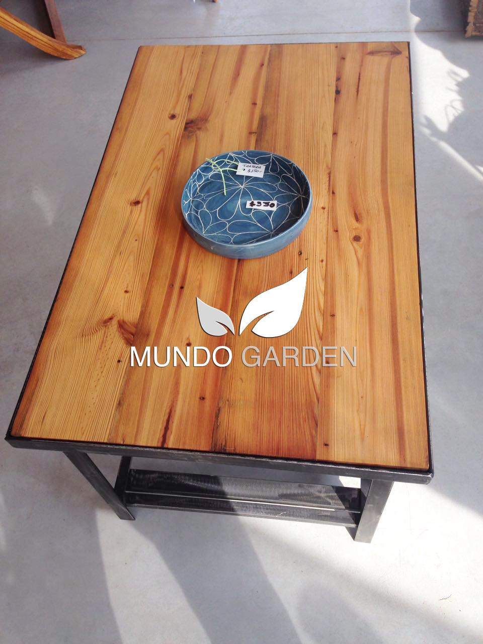 Mundo garden mesa ratona madera y hierro - Mesa madera industrial ...